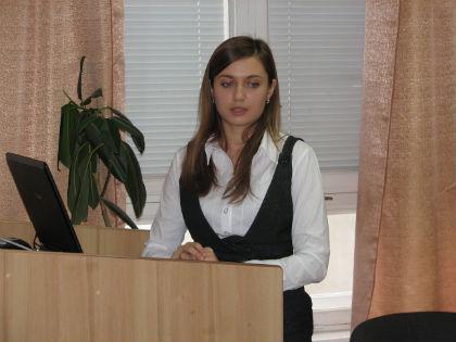 """Вікторія Яруш доповідає на тему """"Формування конкурентоспроможного ринку міжнародних туристичних послуг в Україні"""""""
